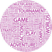 GAME. Word collage — Stock Vector