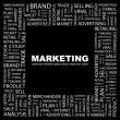 MARKETING. Word collage on black background - Stock Vector
