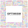 OPTIMISM. Word collage on white background — Vettoriali Stock