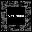 OPTIMISM. Word collage — Stock vektor