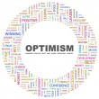OPTIMISM. Word collage on white background — Vektorgrafik