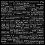 ECONOMY. Word collage on black background — Stock Vector