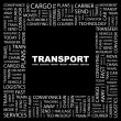TRANSPORT. Word collage on black background — Stock Vector #3506116