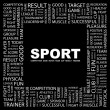 SPORT. Word collage on black background — Stock Vector #3506365