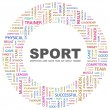 SPORT. Word collage on white background — Imagens vectoriais em stock