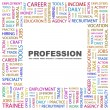 PROFESSION. Word collage on white background — Stock Vector