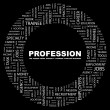 PROFESSION. Word collage on black background — Stock Vector