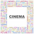 CINEMA. Word collage on white background — Stock Vector