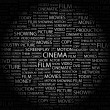 CINEMA. Word collage on black background — Stock Vector