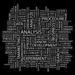 análise. palavra colagem sobre fundo preto — Vetorial Stock