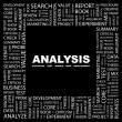 ANALYSIS. Word collage on black background — Stock Vector
