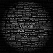 ANALYSIS. Word collage on black background - Stock Vector