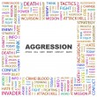 AGGRESSION. Word collage on white background — ストックベクタ