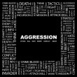 AGGRESSION. Word collage on black background — Vector de stock