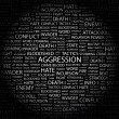 AGGRESSION. Word collage on black background — Stock Vector