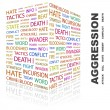 AGGRESSION. Word collage on white background — Vector de stock