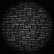 STATE. Word collage on black background — Stock Vector