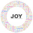 JOY. Word collage on white background — Stockvektor