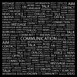 COMMUNICATION. Word collage on black background — Stock Vector