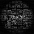 COMMUNICATION. Word collage on black background — ベクター素材ストック