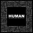 HUMAN. Word collage on black background — Imagen vectorial