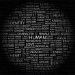 HUMAN. Word collage on black background — Imagens vectoriais em stock