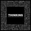 Royalty-Free Stock Vector Image: THINKING. Word collage on black background