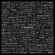 THINKING. Word collage on black background — Stock Vector