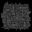 Royalty-Free Stock Imagen vectorial: TAX. Word collage on black background