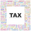 Stock Vector: TAX. Word collage on white background