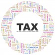 TAX. Word collage on white background — Imagen vectorial