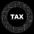 TAX. Word collage on black background — Imagen vectorial