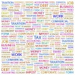 TAX. Word collage on white background — Stock Vector