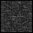 Globalization. Word collage on black background — Vettoriali Stock
