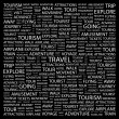 TRAVEL. Word collage on black background — Stock Vector #3507612