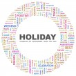 HOLIDAY. Word collage on white background - Stock Vector