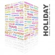 HOLIDAY. Word collage on white background — Imagens vectoriais em stock