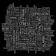 STRESS. Word collage on black background - Stock Vector