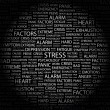 STRESS. Word collage on black background - Image vectorielle