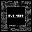 BUSINESS. Word collage on black background — Stock Vector