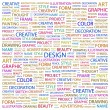 DESIGN. Word collage on white background — Stock Vector