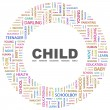 CHILD. Word collage on white background — Stock Vector