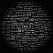 CHILD. Word collage on black background — Stock Vector