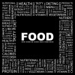 FOOD. Word collage on black background — Stock Vector