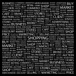 SHOPPING. Word collage on black background — Stock Vector