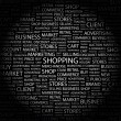 Stock Vector: SHOPPING. Word collage on black background
