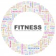 FITNESS. Word collage on white background - Stock Vector
