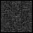 FITNESS. Word collage on black background. — Stock Vector #3508421