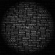 Stock Vector: FITNESS. Word collage on black background.