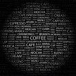 COFFEE. Word collage on black background — ベクター素材ストック